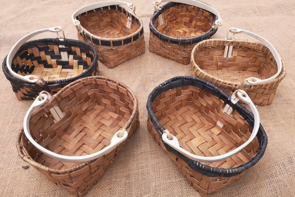 A variety of Sweet  Chestnut Bark Baskets with steam bent handles