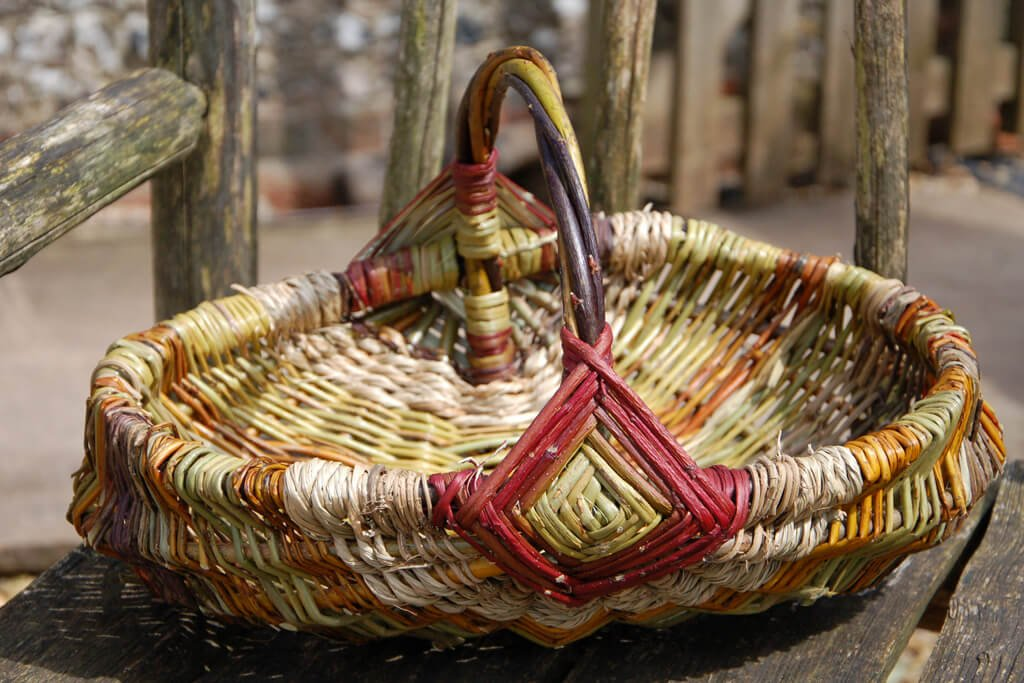 Large hedgerow basket in willow, dogwood, bramble, honeysuckle and seagrass
