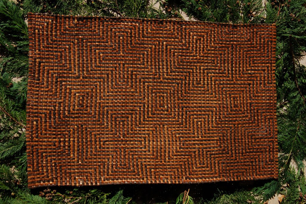 Large mat in dyed and natural red cedar bark
