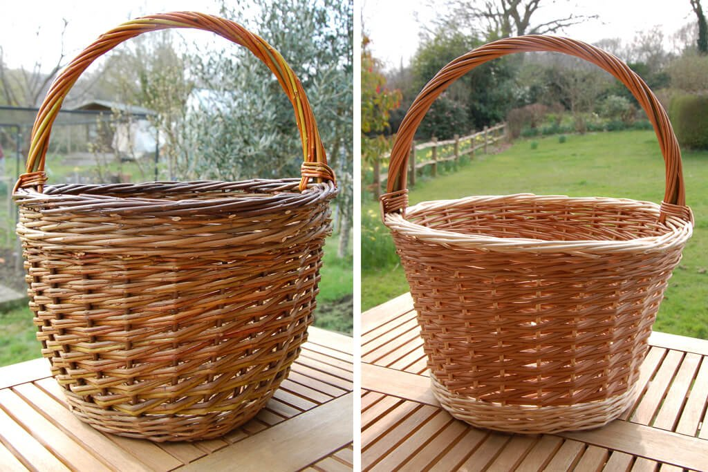 Shopping basket in buff and white willow and Willow Shopper in browns and hedgerow willow