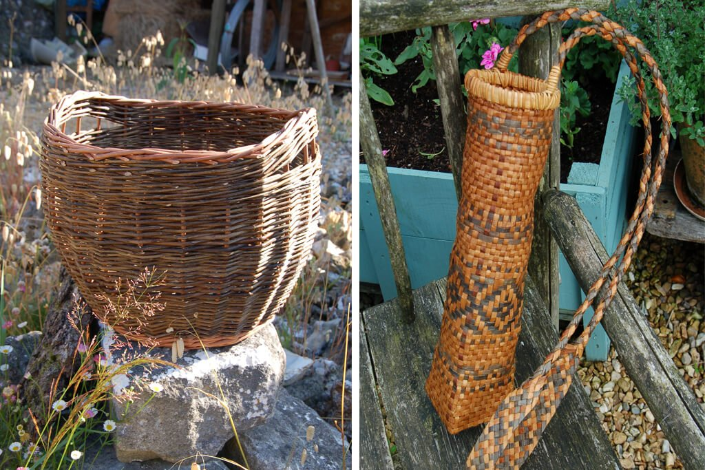 Storage basket with finger handles in brown willow and buff willow and Traditional arrow quiver in natural and dyed red cedar bark.jpgjpg